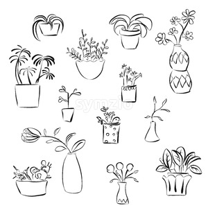Outline Plants Doodles Stock Vector