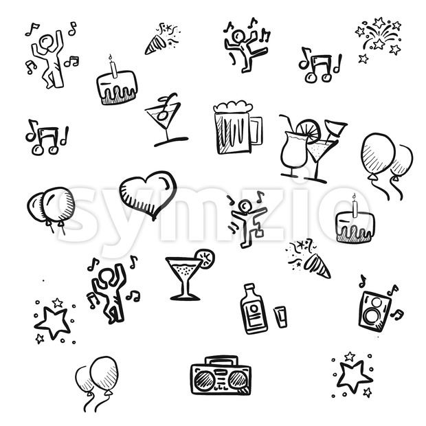 small party doodles Hand drawn Sketches Stock Vector
