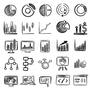 Business Charts Vector Doodles Stock Vector