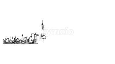 New York Panorama Outline Animation Stock Video