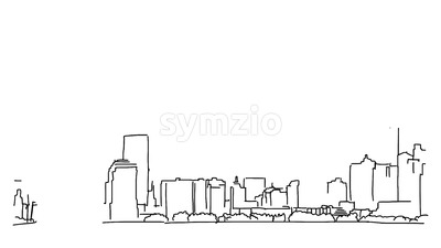 New York with Statue of Liberty Outline Animation Stock Video