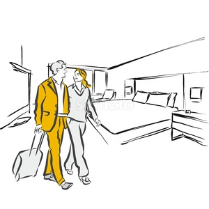 Travel couple in hotel Room Accommodation Stock Vector