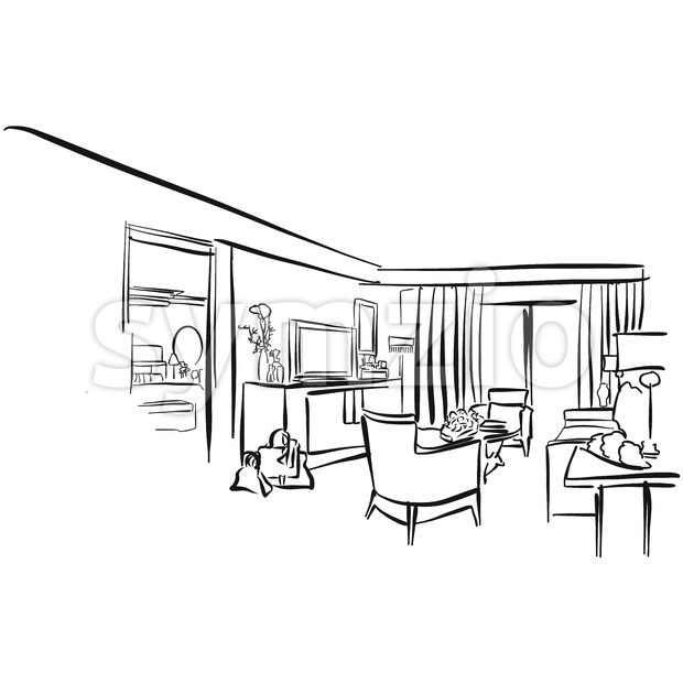 Hote Suite Vector Outline Sketch, hand drawn Image