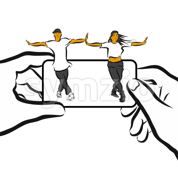 Training Choreography App Concept Design Sketch Stock Vector