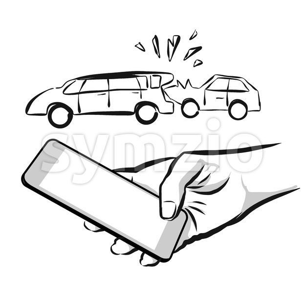 Broken Car Insurance Concept Sketch Stock Vector