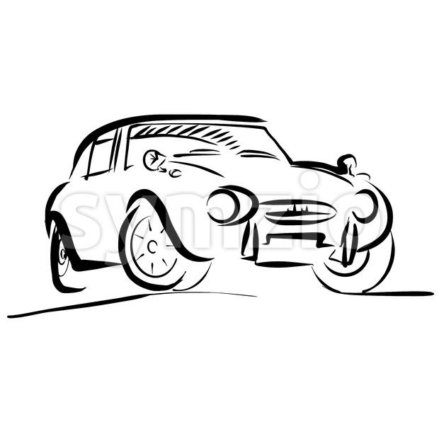 Old small sport Car Outline Sketch, Vector Artwork
