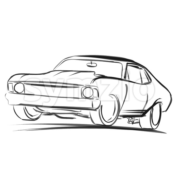 Old Muscle Car Outline Sketch Stock Vector