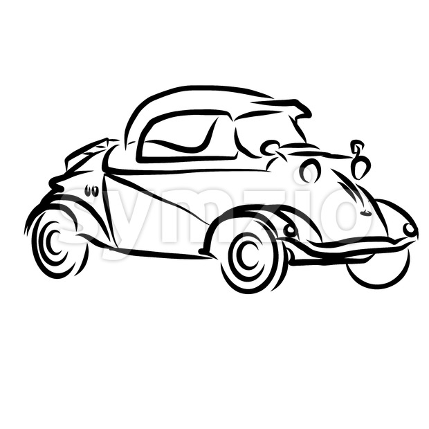 Vintage Concept Car Outline Sketch Stock Vector