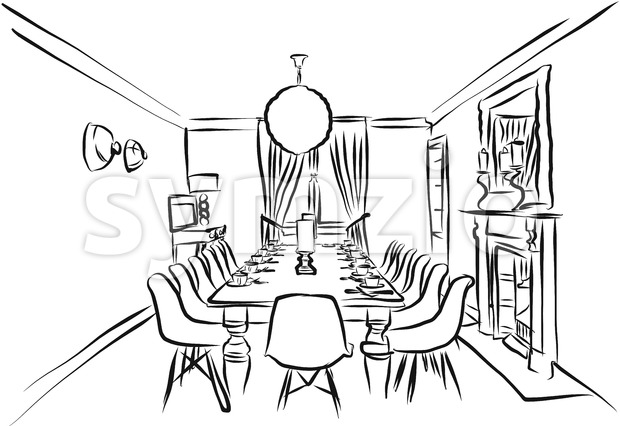 Eating Room Outline Backround Sketch Stock Vector