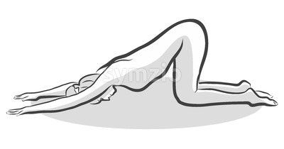 Hand Drawn Extended Puppy Pose Uttana Shishosana Pose, Yoga Woman Stock Vector