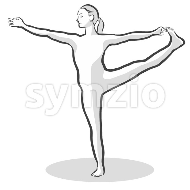 Extended Hand to Big Toe Utthita Hasta Padangustasana Yoga Pose Stock Vector