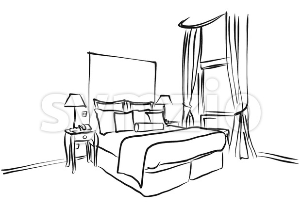 Hotel Room King Size Bed, Interieur Coloring Page Stock Vector