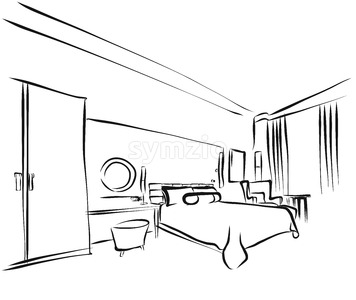 Hotel Room Interieur Coloring Page Stock Vector