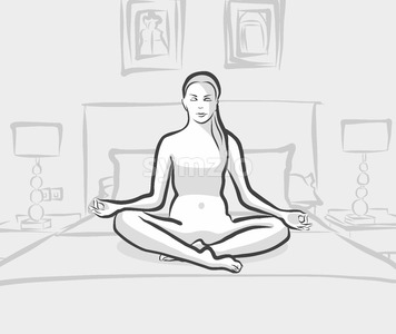 woman practicing siddhasana yoga exercises on the bed at home or hotel Stock Vector