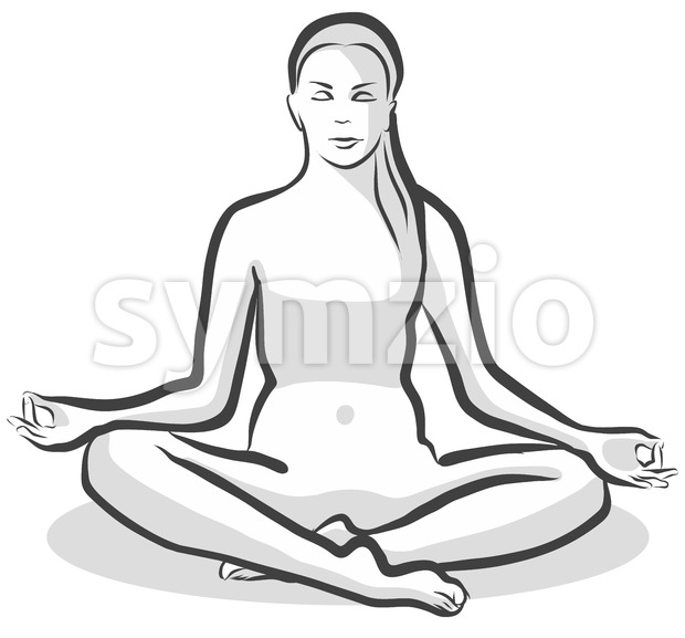 Hand Drawn Siddhasana Perfect Pose, Yoga Woman Stock Vector