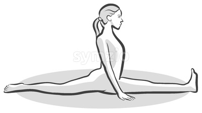 Monkey Hanumanasana Yoga Pose Stock Vector