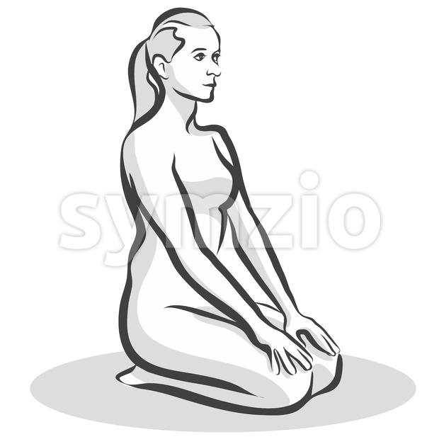 Hand Drawn Thunderbolt Vajrasana Pose, Yoga Woman Stock Vector