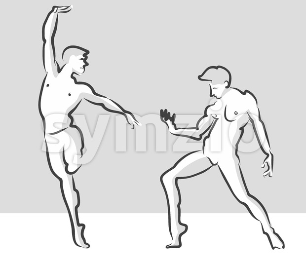 Expressive Ballet Gesuture Pose, Russian Theater Sketch Stock Vector