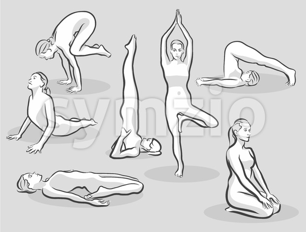 Seven Various Halftone Yoga Poses Stock Vector