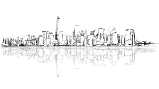 New York City Outline Sketch with Refection Stock Vector