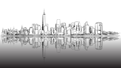 New York City Outline Sketch with Dark Footer Stock Vector