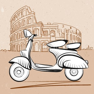 Italian Scooter in Front of Colosseum in Rome Stock Vector