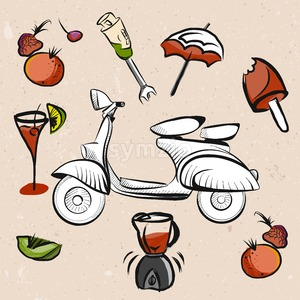 Italian Scooter, Fruits and Smoothie Signs Stock Vector