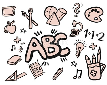 Back to Scool Doodles Filled with Color Stock Vector