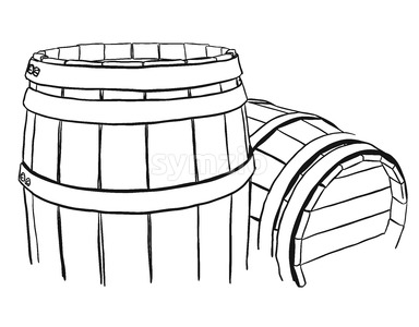 Two Vine Barrels Rough Sketched Stock Vector