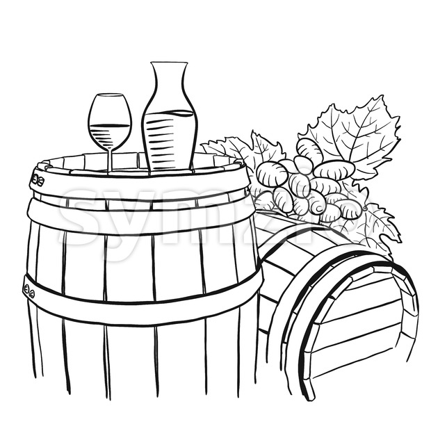 Grapes, Carafe and Glass of Vine on Wooden Barrel Stock Vector