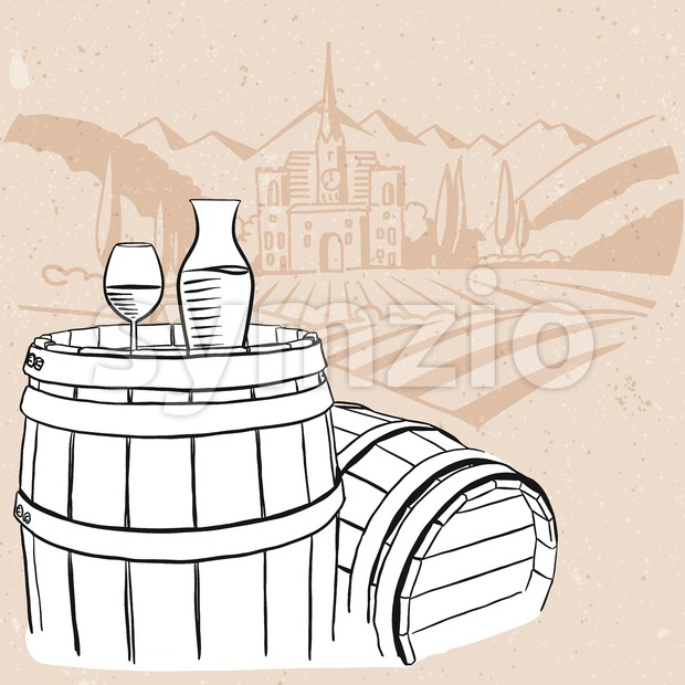Carafe, Glass of Vine on Barrel with Vineyard Vintage Background, Hand drawn Vector Artwork