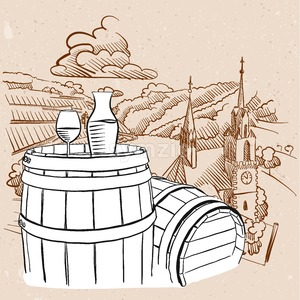 Vineyard Illustration with Sketched Barrel and Glass of Vine Stock Vector
