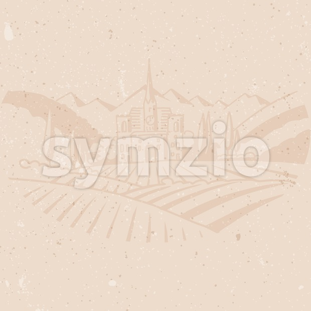 Vineyard Farm Background Menu Card Design Stock Vector