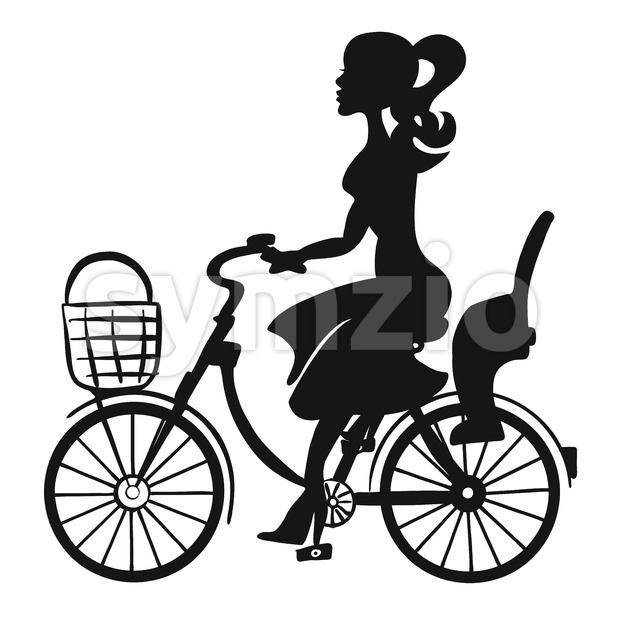 Lady on Bike wit Basket and Children Seat Stock Vector