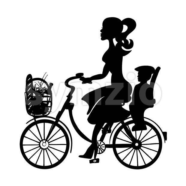 Lady with Baby Child on Bicycle Stock Vector