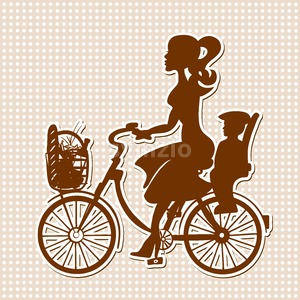 Vintage Retro Lady on Bike with Child and Purchase in Basket Stock Vector