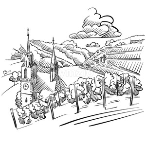 German Vineyard Sketch with Church, River and Hills Stock Vector