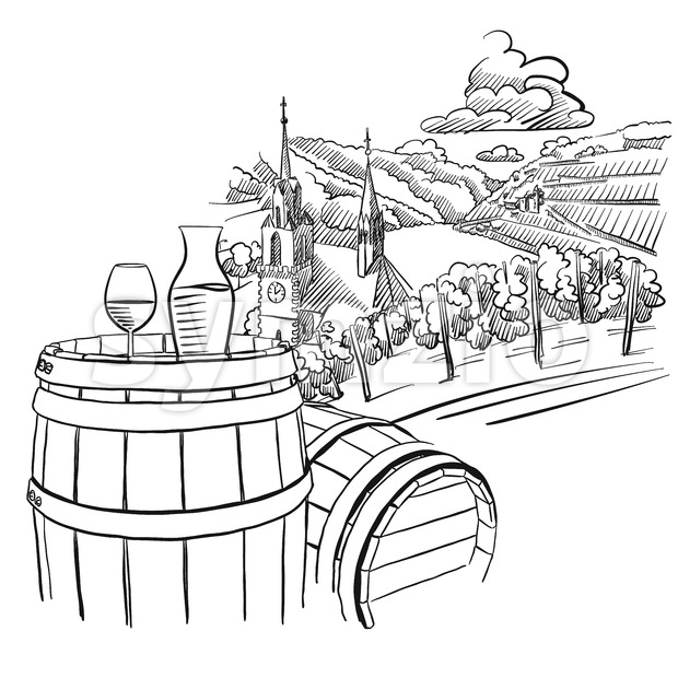 Glas of Wine on Barrel in Front of german Vineyard Landscape Stock Vector