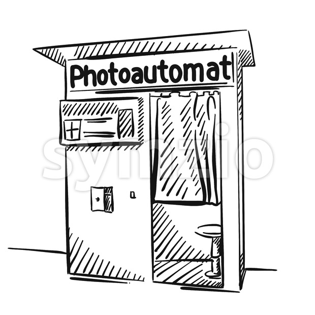 Berlin Photo Booth Black and White Sketched Stock Vector