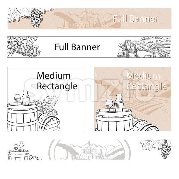 Vineyard Travel Sketch Online Banner Layout Stock Vector