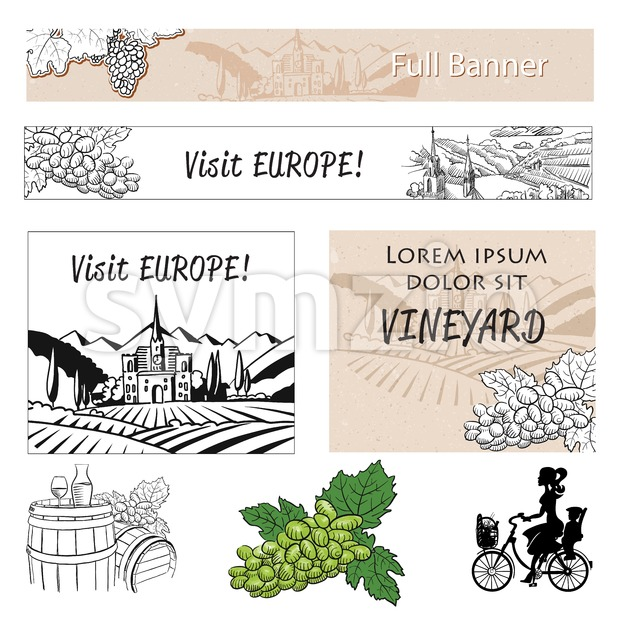 Vineyard Travel Banner Assets and Concept Layout Stock Vector