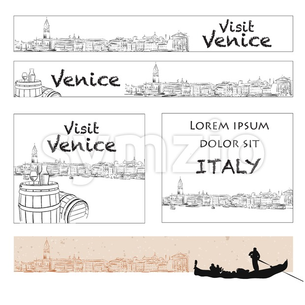 Venice Online Marketing Banner Layout Stock Vector