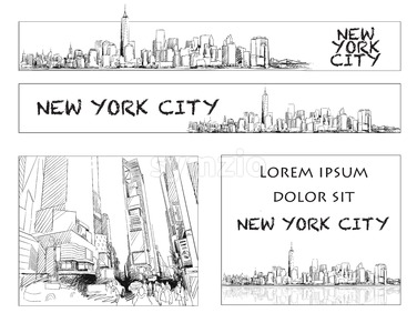 Ney York City Skyline Banner Layout Stock Vector