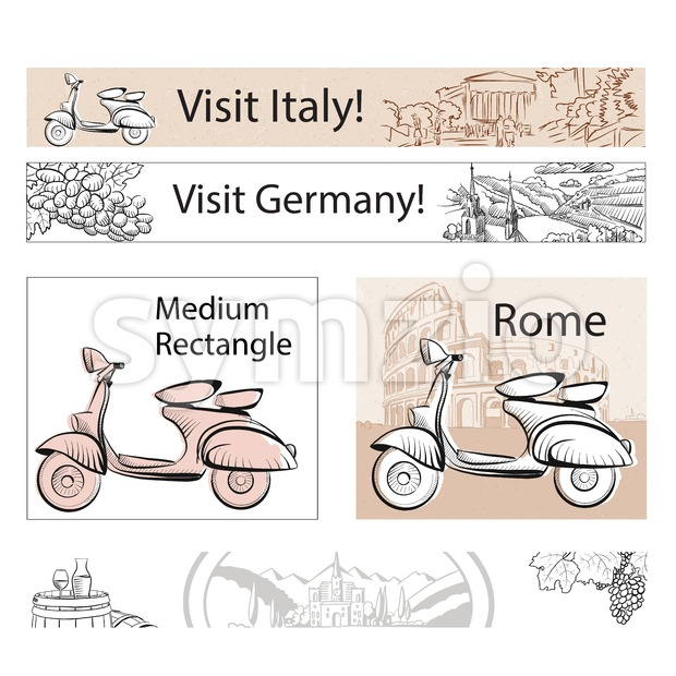 Europe Travel Marketing Banner Layout, Hand drawn Vector Outline Artwork