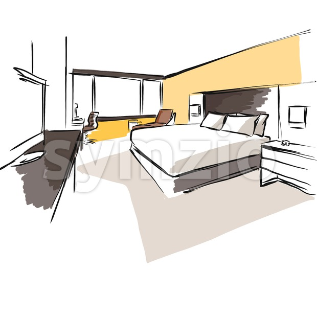 Interior Hotel Room Concept Sketch Layout, Hand drawn and coloured Vector Artwork