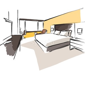 Interior Hotel Room Concept Sketch Layout Stock Vector