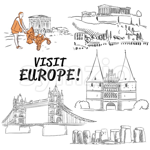 Famous European Vacation Buildings Sketches Stock Vector