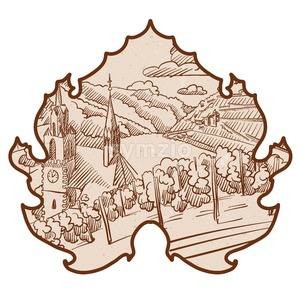 Vintage German Vineyard Landscape Sketch in Wine Leaf Stock Vector