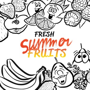 Fresh Summer Fruits Sketch Composition Design Stock Vector