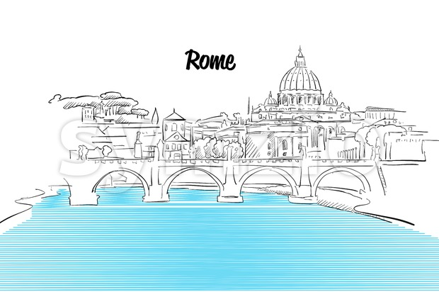 Rome Skyline Vacation Outline Sketch Stock Vector